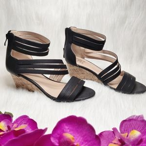Women's Black Ankle Strap Wedge Sandals Size 7 1/2